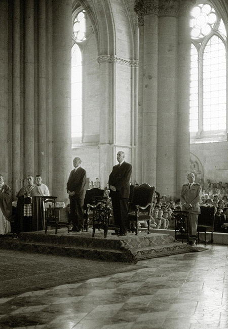 In an act of reconciliation between Germany and France, Chancellor Adenauer (left) and President De Gaulle attend mass at Reims Cathedral, July 8th, 1962. AFP / Getty Images