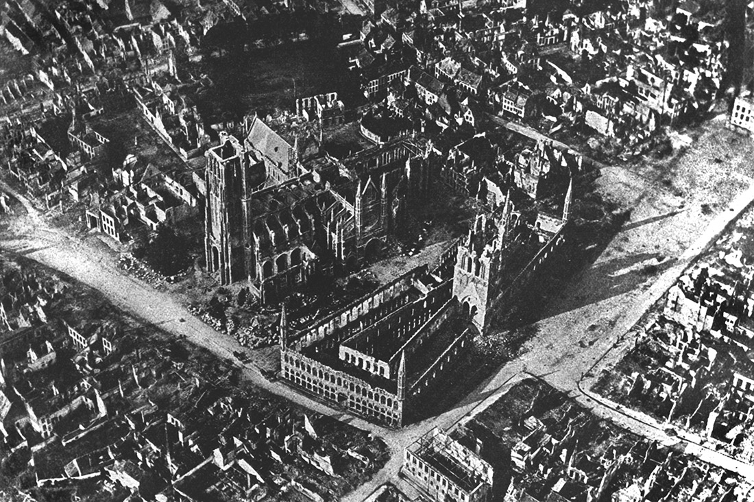 An aerial shot of Ypres in 1915