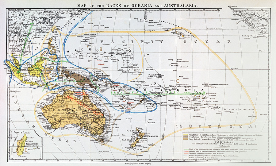 Map of the Races of Oceania and Australasia, from The History of Mankind, Vol. 1, by Friedrich Ratzel, 1896.
