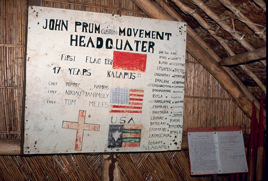 Sign at the John Frum Cargo Cult headquarters, Tanna, Vanuatu.