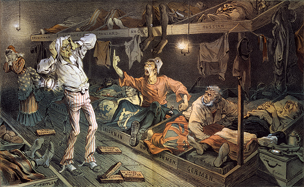 E Pluribus Unum: An Irishman kicks up a row as immigrants from various countries try to sleep at Uncle Sam's lodging house. 'Puck' cartoon, 1882.