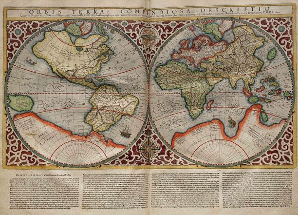 Rumold Mercator's world map, drawn in 1587 after his father's map of 1567 (published in 1595)