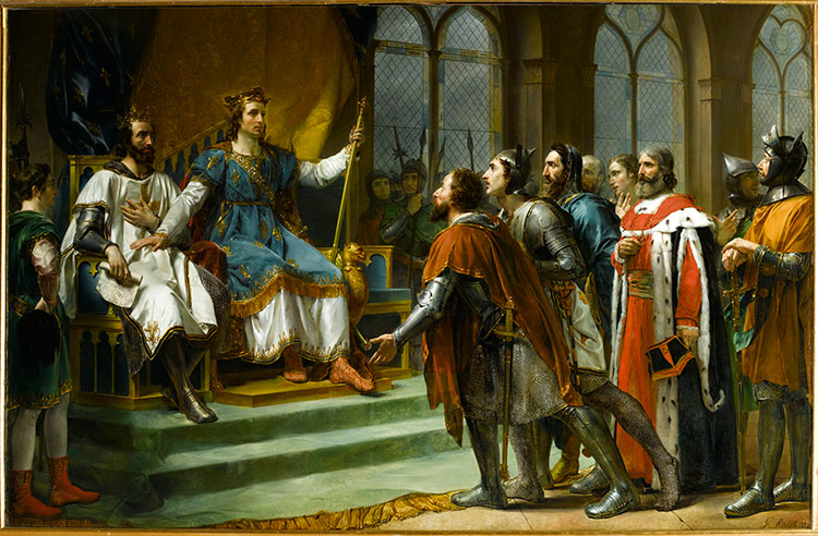 Louis IX passes judgement in favour of Henry III at Amiens, January 1265, an idealised representation by Georges Rouget, 1920.