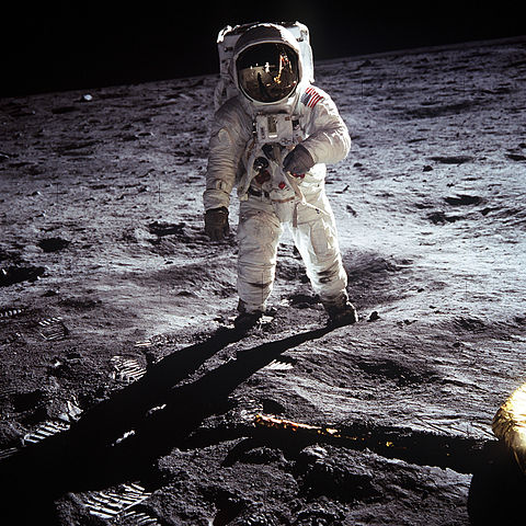 Photograph of Buzz Aldrin, taken by his fellow astronaut Neil Armstrong, on the surface of the moon, July 20th, 1969
