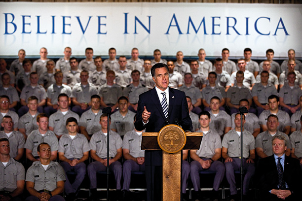 Mitt Romney addresses cadets at Citadel military college, Charleston, South Caroline, 2011. Getty Images/Richard Ellis