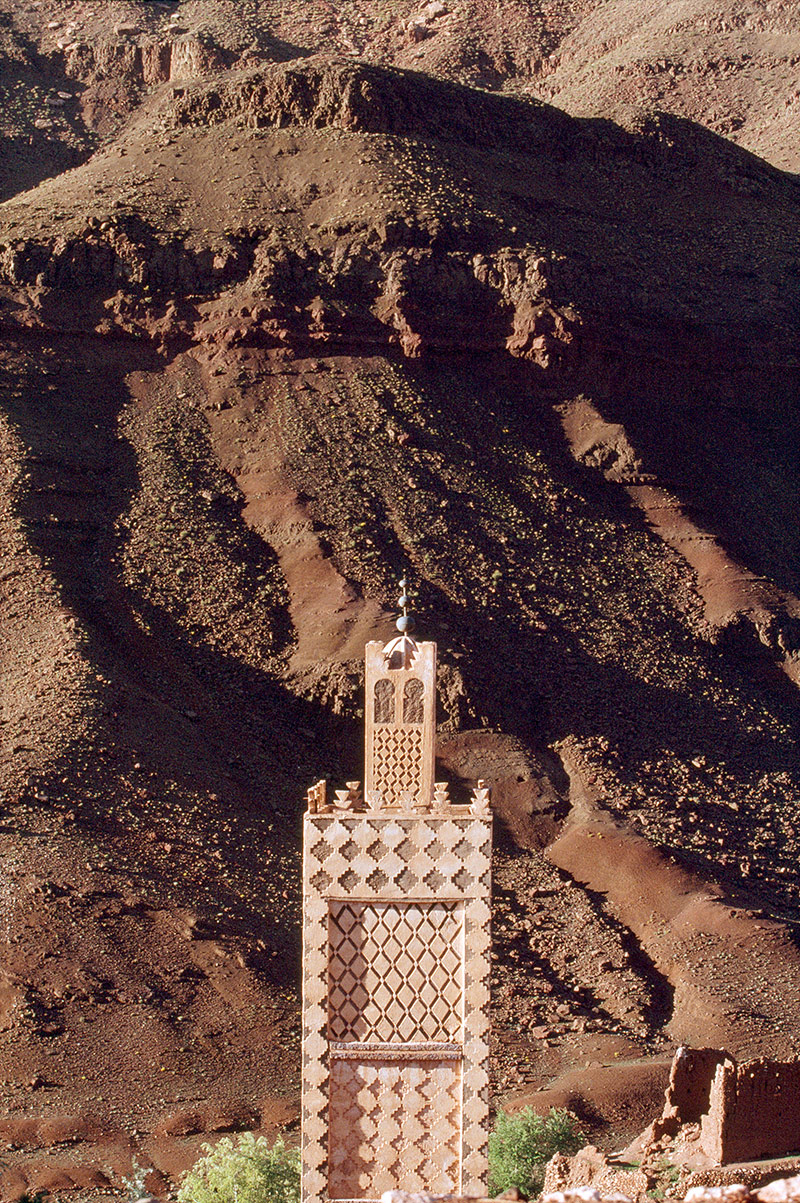 Minaret of a mosque, southern Morocco, 1997.