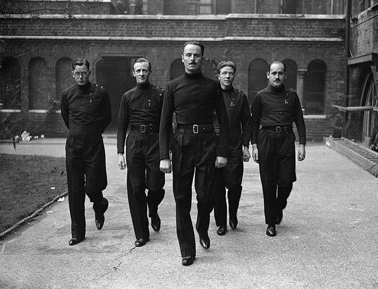 Oswald Mosley with four of his followers wearing the blackshirt uniform of the BUF, 1933.