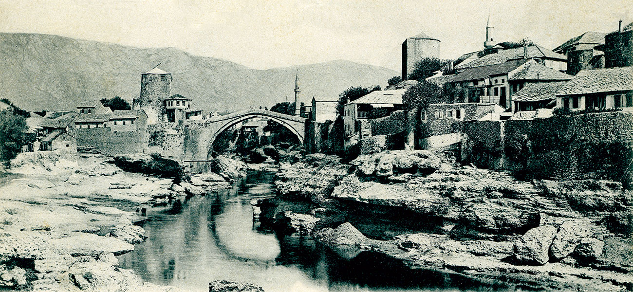 The Stari Most bridge in Mostar, Bosnia-Herzegovina, in the early 1900s.