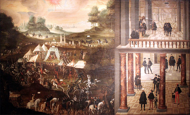 Battle of Mühlberg 1547 and imprisonment of elector Johann Friedrich of Saxony (painting from 1630, Deutsches Historisches Museum)
