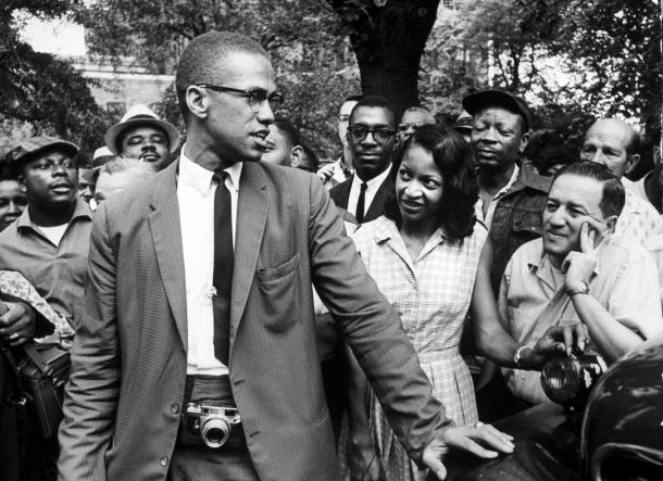Malcolm X promoting Black Muslim policies during a civil rights demonstration in Brooklyn, New York, 1963. Getty Images/Time Life