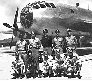The Bockscar and its crew, who dropped the Fat Man atomic bomb on Nagasaki.