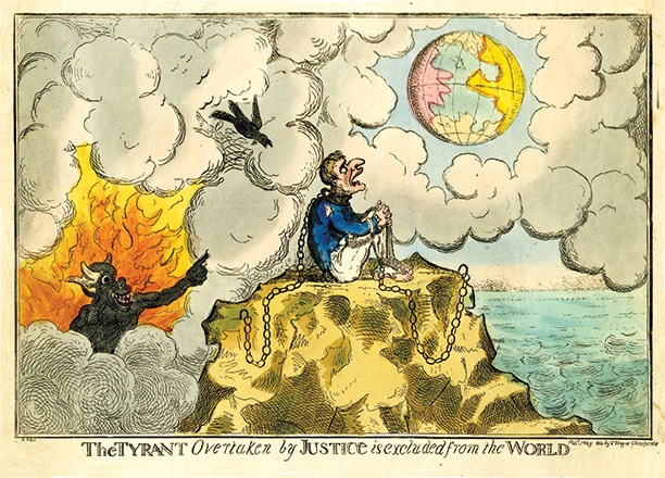 Fallen idol: a defeated Napoleon atop a rock, a caricature in imitation of Cruikshank, 1814
