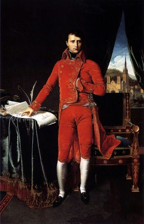 A depiction of Napoleon as First Consul, by Ingres. He attained the office in 1799.