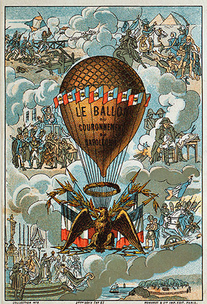 """Napoleon's coronation balloon"". Collecting card with vignettes of Napoleon's military victories."