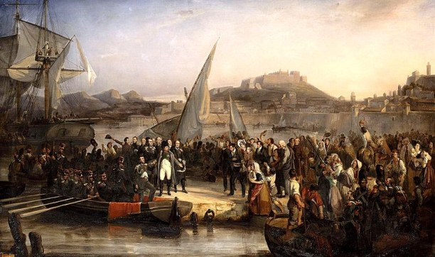 Napoleon Bonaparte leaving Elba, 26 February 1815. Artist: Joseph Beaume, oil on canvas, 1836