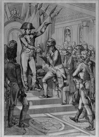 Napoleon I standing at the top of a triple-tiered platform hands the Legion of Honor to a veteran who lost a foot during battle, 1802.  Rixinger, Francis , artist. Library of Congress.