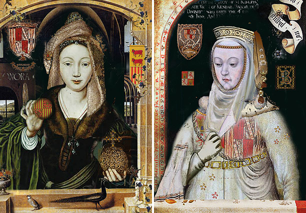 Leonor, left, and Blanca II, right, in contemporary paintings.