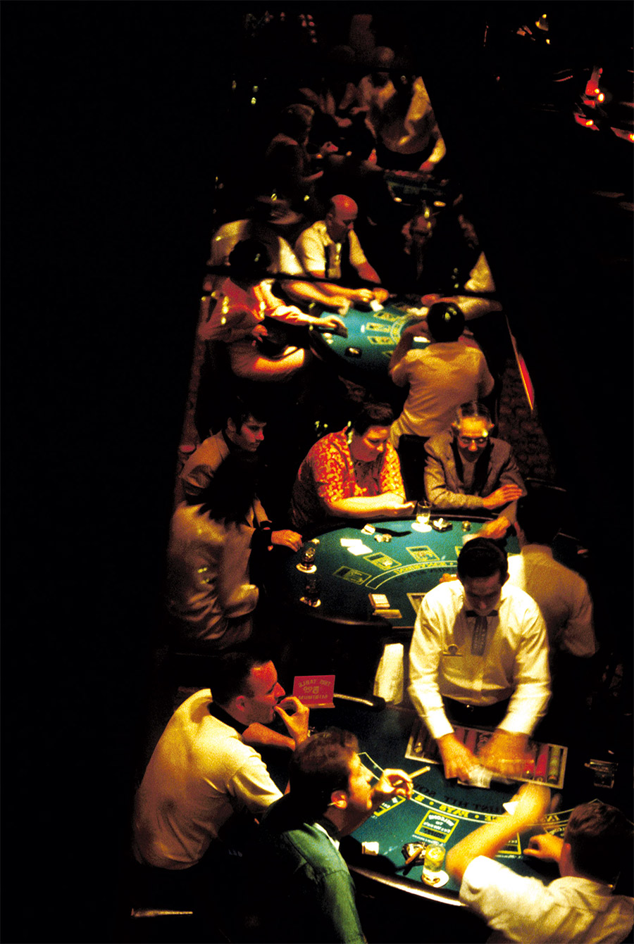 Gamblers seen from an observation mirror, 1968.