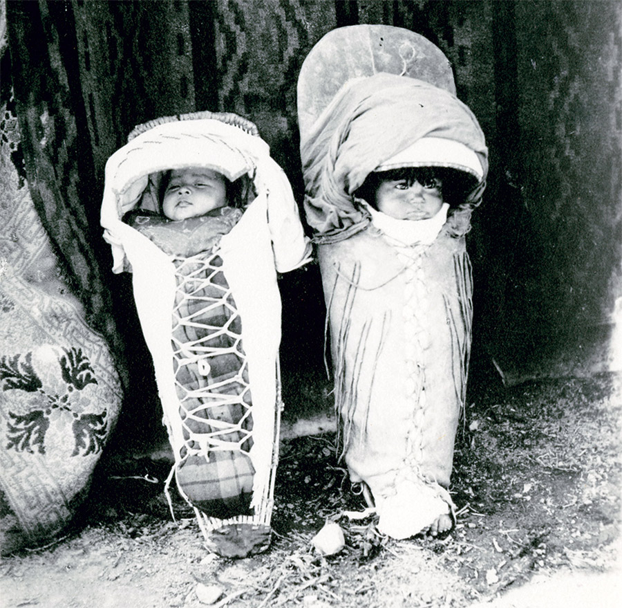 Paiute babies in cradleboards, 20th century.