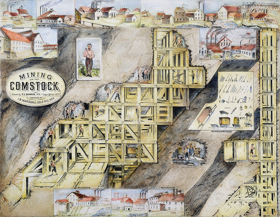 Cutaway view of Comstock Lode, 1877.