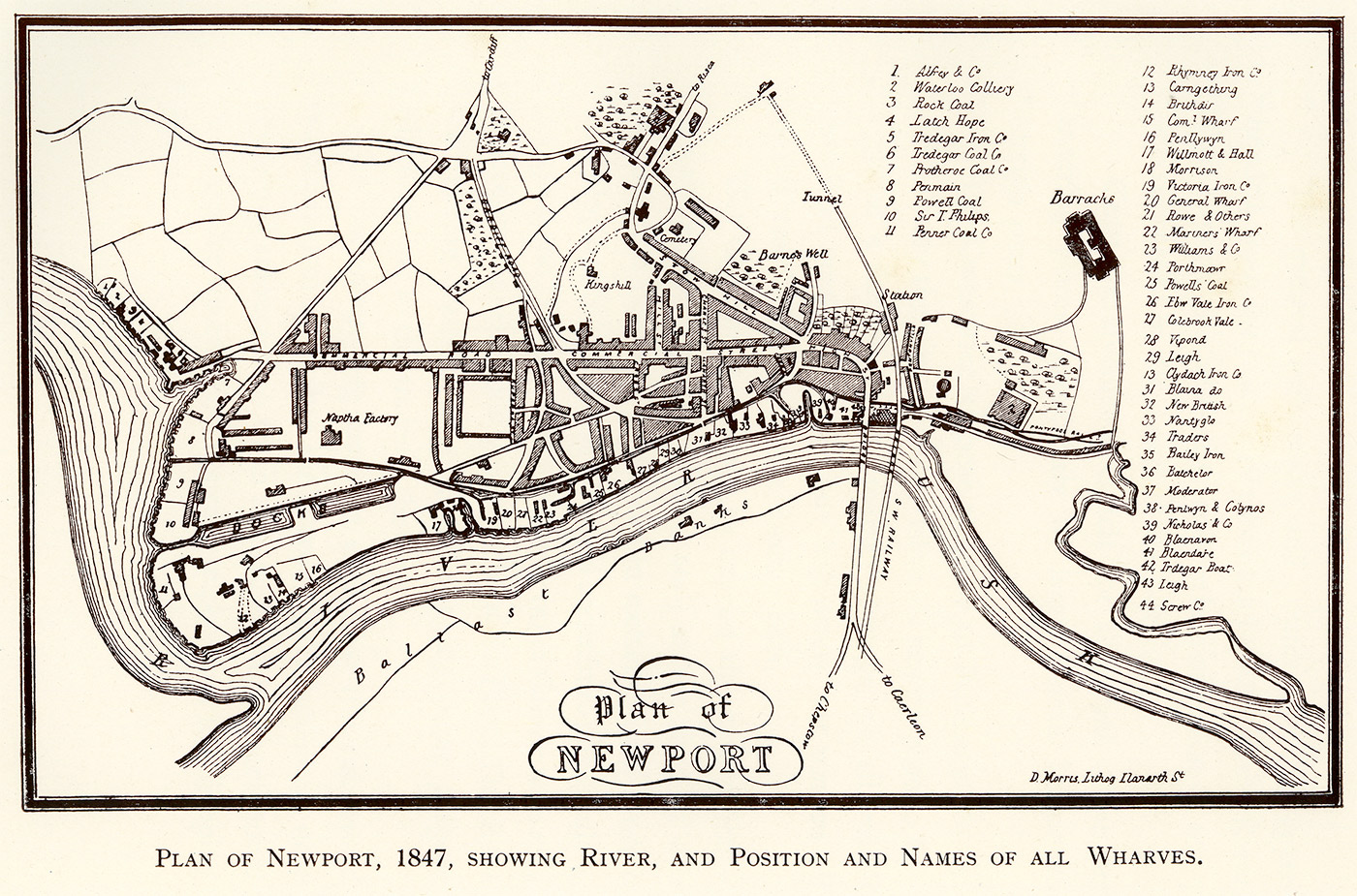 Plan of Newport, 1847. Pillgwenlly is the district to the bottom left hand side.