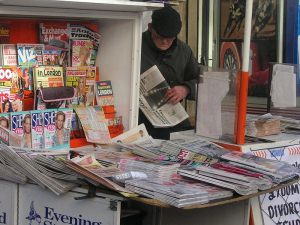 A newspaper vendor in London. Photograph by KF