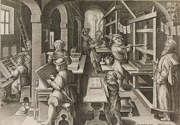 A printer's shop, from a Flemish series illustrating new inventions, c. 1580-1605. British Museum