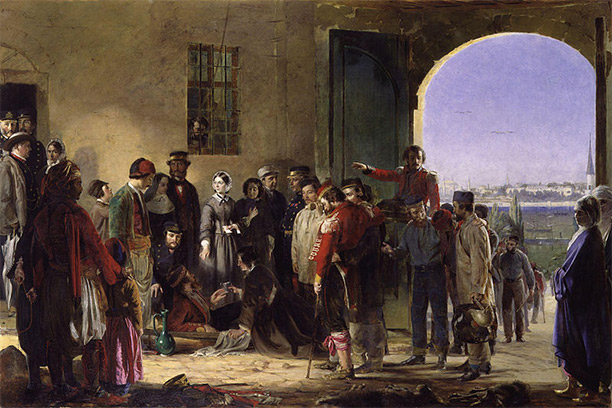 """Nightingale receiving the Wounded at Scutari"", a portrait by Jerry Barrett"