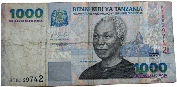 President Julius Nyerere's portrait on the Tanzanian 1000 shilling note