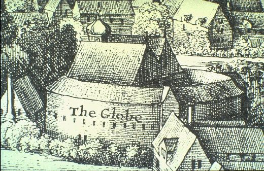 A print of the original Globe Theatre in London. Created in 1642 by Wenceslas Hollar.