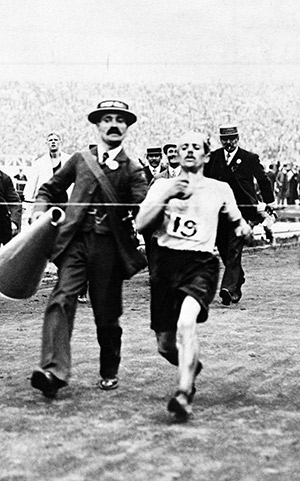 Dorando Pietri about to break the tape in the 1908 Olympic marathon. Getty Images/Popperfoto