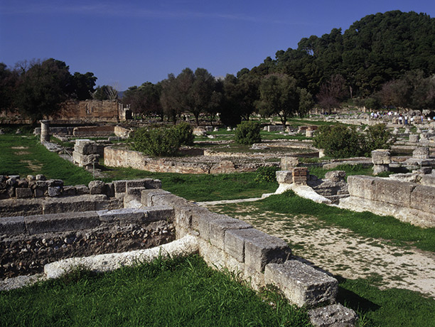 Olympic village: Leonidaion at Olympia, built in 350 BC to accommodate official visitors to the games