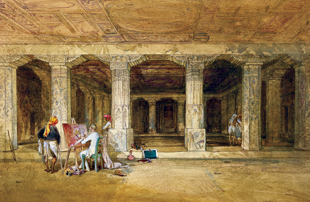 Robert Gill copying the Ajanta frescoes, by William Simpson, 19th century.