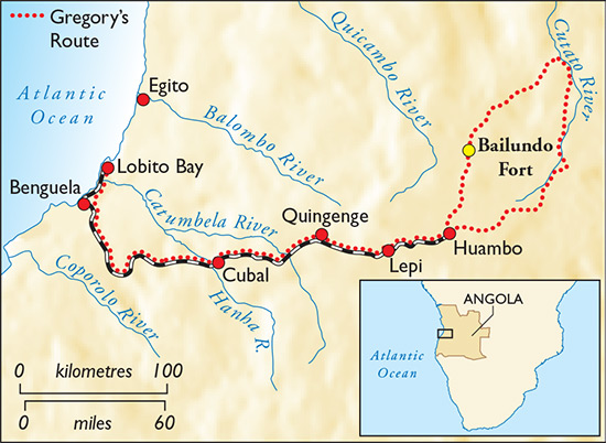 Map of Gregory's Angolan expedition. Click to expand.