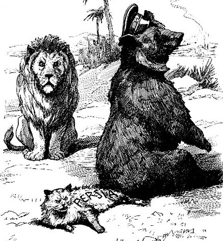 "Caption from a 1911 English satirical magazine reads: ""If we hadn't a thorough understanding, I (British lion) might almost be tempted to ask what you (Russian bear) are doing there with our little playfellow (Persian cat)."""