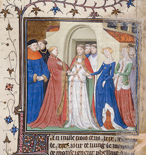Illumination from the Grandes Chroniques de France showing Phillip marrying Margaret of Flanders in 1369