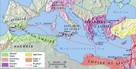 ibn Jubayr's route around the Mediterranean, 1183-85. History Today / Tim Aspden