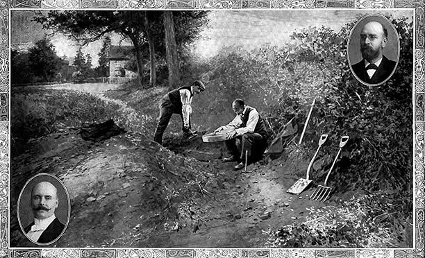 Dawson (left) and Smith-Woodward search for more bones, Illustrated London News, 1913