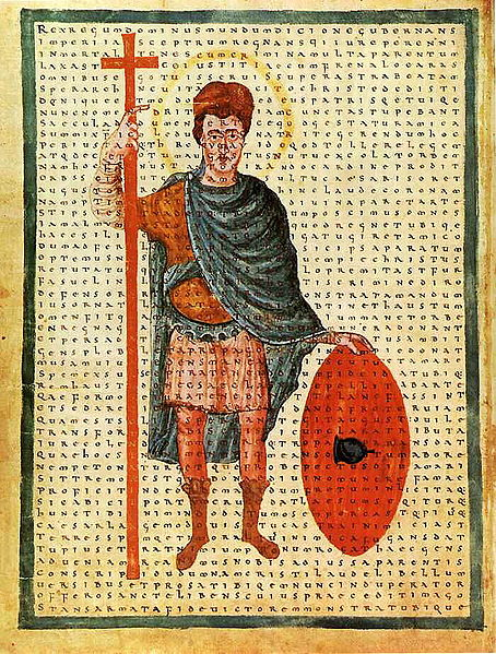 Louis the Pious, contemporary depiction from 826 as a miles Christi (soldier of Christ), with a poem of Rabanus Maurus overlaid.