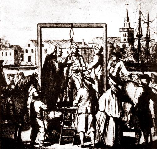 The execution of a pirate at Execution Dock in Wapping, London