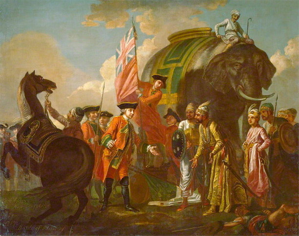 Lord Clive meeting with Mir Jafar after the Battle of Plassey, oil on canvas (Francis Hayman, c. 1762)