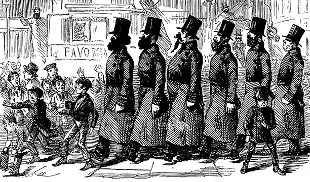 'Peelers', named after the founder of the police force, Sir Robert Peel, take to London's streets in 1829