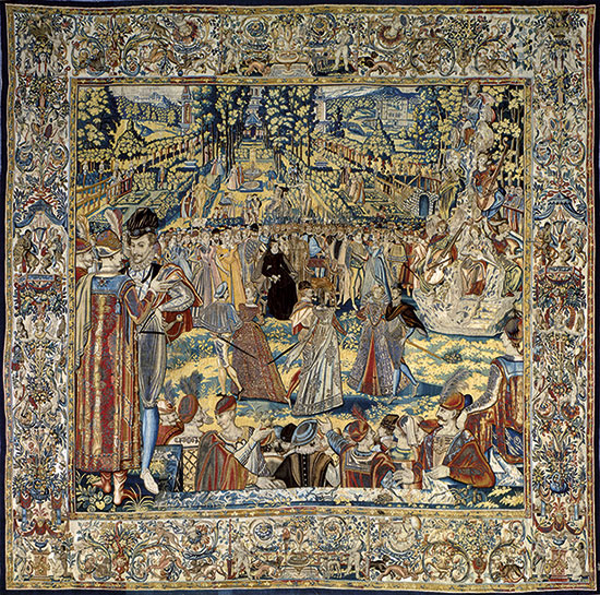 Reception for the Polish Envoys: one of a series of tapestries of 1582 depicting the court of Catherine de'Medici. Click for larger version.