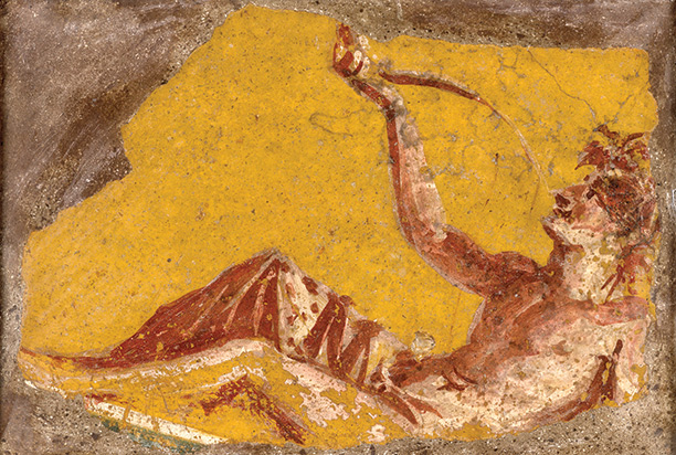 Simple pleasures: fragment of a wall painting from Pompeii showing a man drinking wine. First century AD.