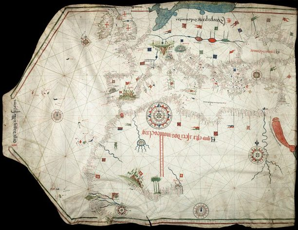 Portolan chart by Jorge de Aguiar (1492), the oldest known signed and dated chart of Portuguese origin (Beinecke Rare Book and Manuscript Library, Yale University, New Haven, USA)