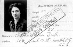 Kitty Bowler's press pass whilst working for 'News Week', 1936