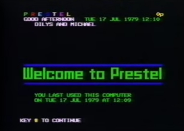 Screen shot of Prestel in use