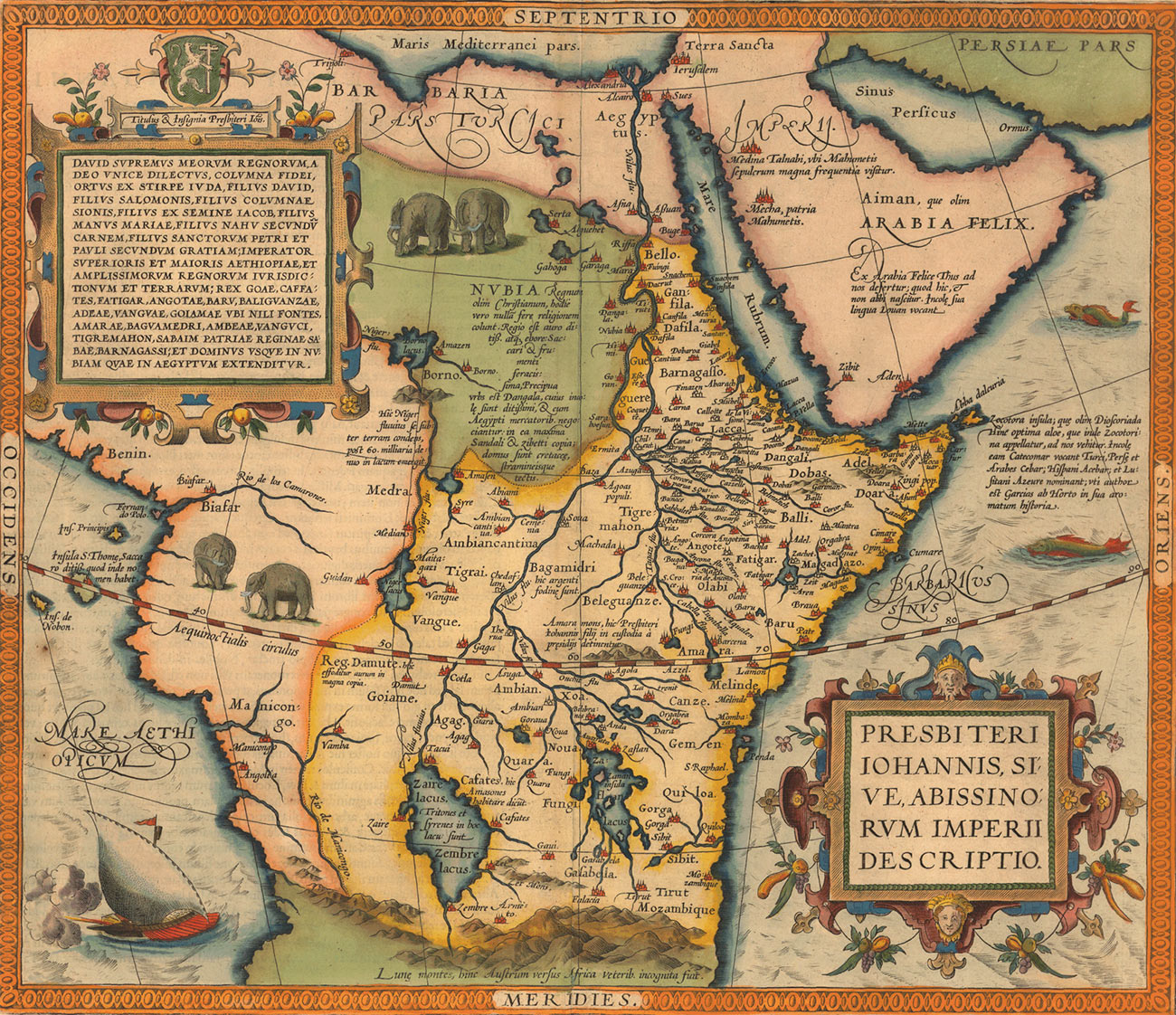 The 'Prester John map' by Abraham Ortelius, 1527-1598.