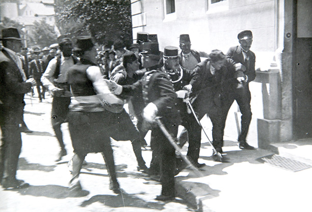 Wrong man: Ferdinand Behr is arrested after the assassination of Franz Ferdinand. History Museum Sarajevo