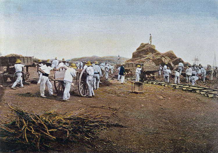 Prisoners at work at the Noumea Penal Colony, New Caledonia, engraved by Gillot, c.1900.